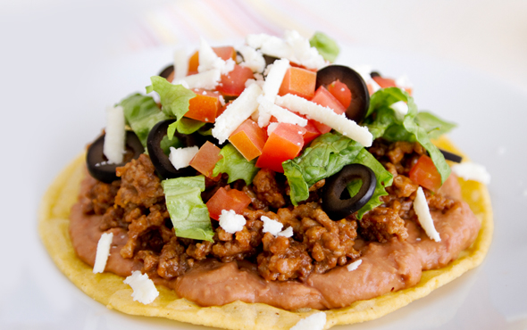 El Popular Chorizo & Refried Beans Tostada Recipe