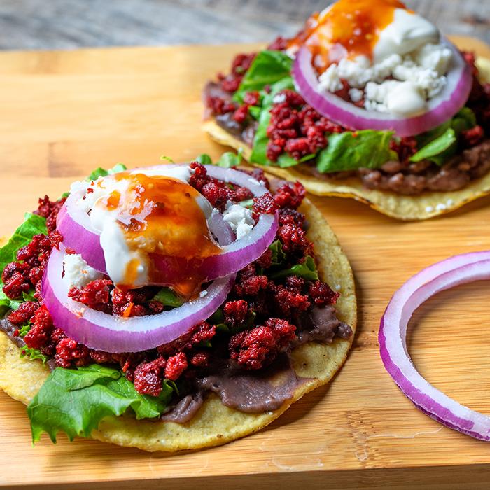 Chorizo & Refried Beans Tostada recipe