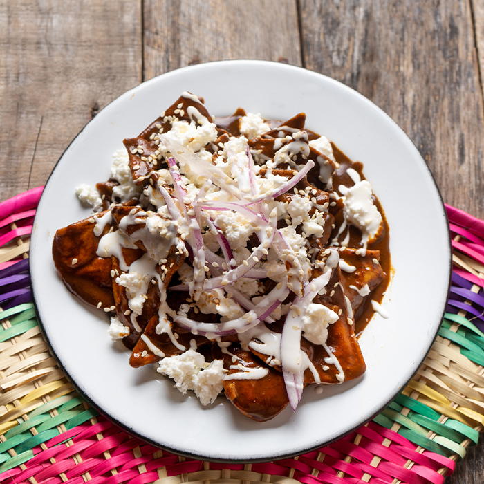 Vegan Soy Chorizo and Mole Chilaquiles recipe
