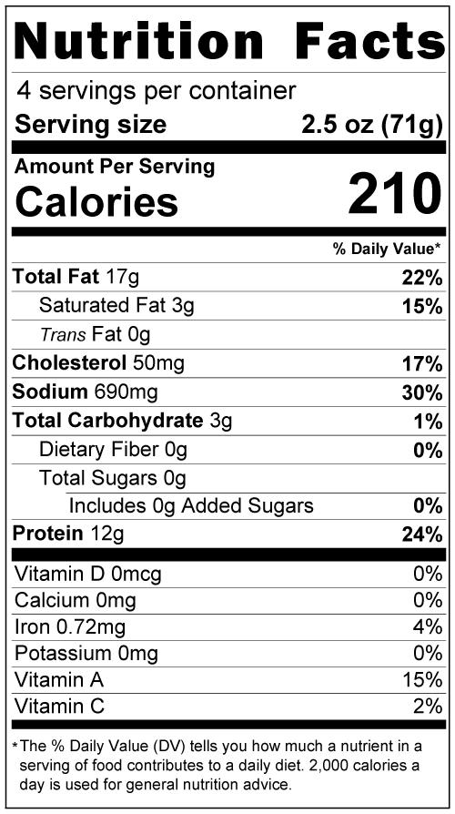 Longaniza Nutrition Facts