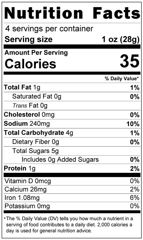 Mole Powder Nutrition Facts